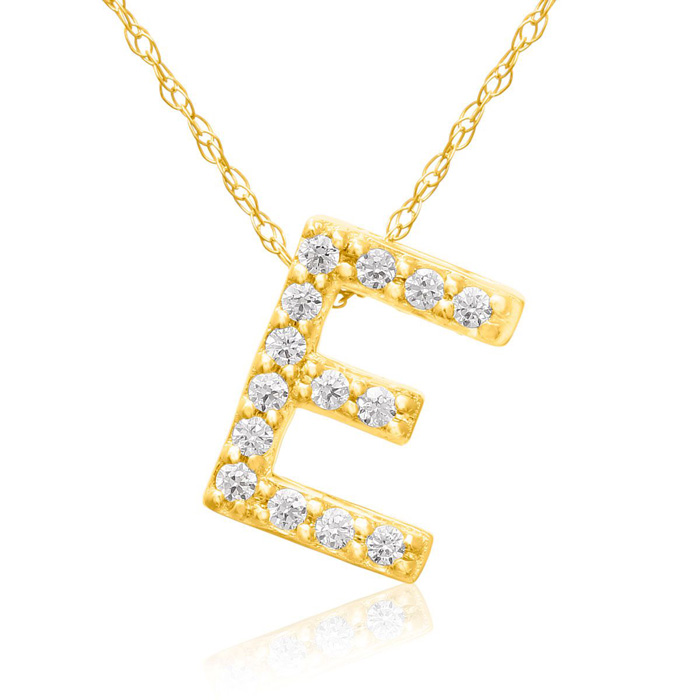 E Initial Necklace in 18K Yellow Gold (2.6 g) w/ 14 Diamonds, G/H
