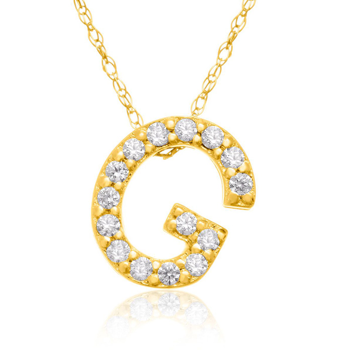 G Initial Necklace in 18K Yellow Gold (2.6 g) w/ 15 Diamonds, G/H
