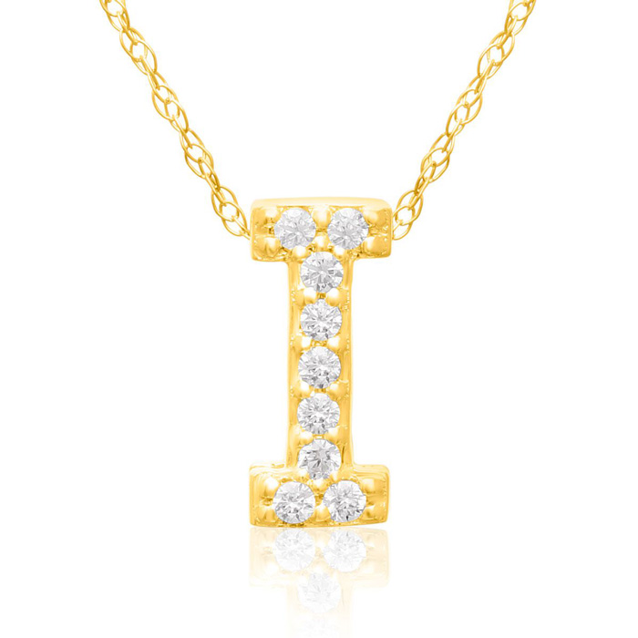 I Initial Necklace in 18K Yellow Gold (2.6 g) w/ 9 Diamonds, G/H,