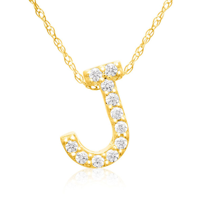J Initial Necklace In 18K Yellow Gold