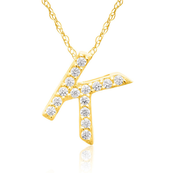 K Initial Necklace in 18K Yellow Gold (2.6 g) w/ 15 Diamonds, G/H