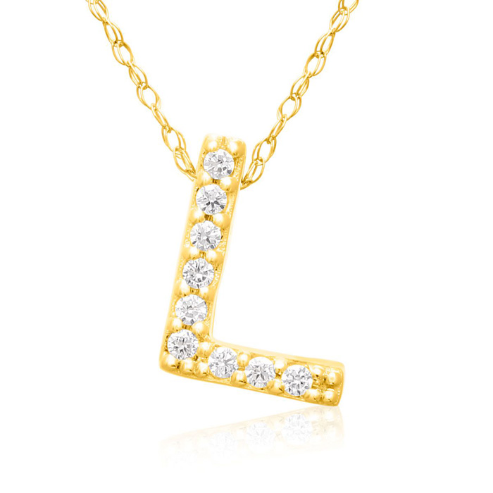 L Initial Necklace in 18K Yellow Gold (2.6 g) w/ 9 Diamonds, G/H, 18 Inch Chain by SuperJeweler