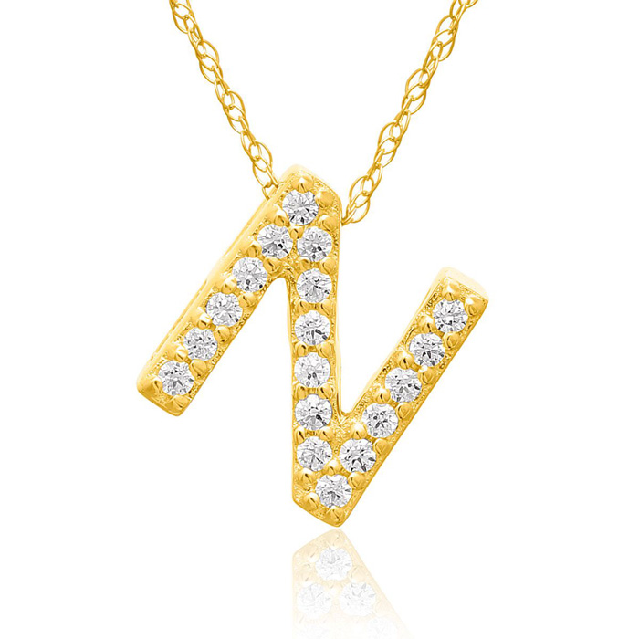 N Initial Necklace in 18K Yellow Gold (2.6 g) w/ 18 Diamonds, G/H