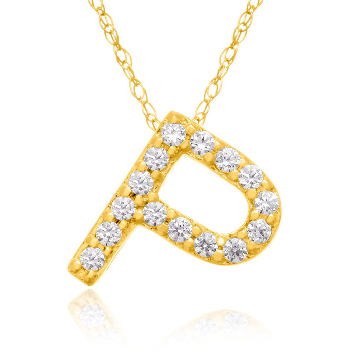 P Initial Necklace in 18K Yellow Gold (2.6 g) w/ 15 Diamonds, G/H