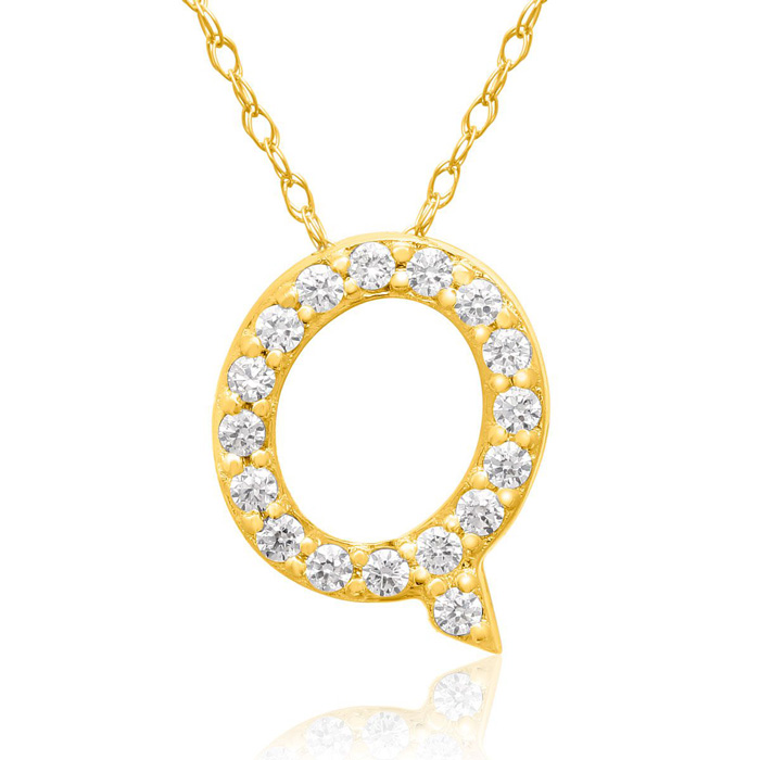 Q Initial Necklace in 18K Yellow Gold (2.6 g) w/ 17 Diamonds, G/H