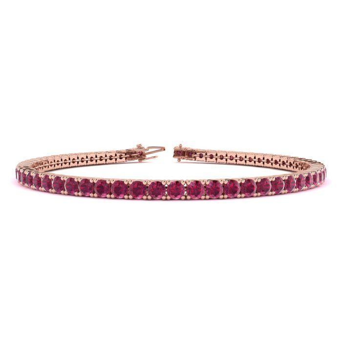 6 Inch 4 1/2 Carat Ruby Tennis Bracelet in 14K Rose Gold (8.1 g) by SuperJeweler