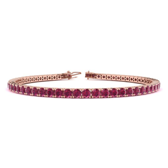 9 Inch 6 3/4 Carat Ruby Tennis Bracelet in 14K Rose Gold (12.1 g)