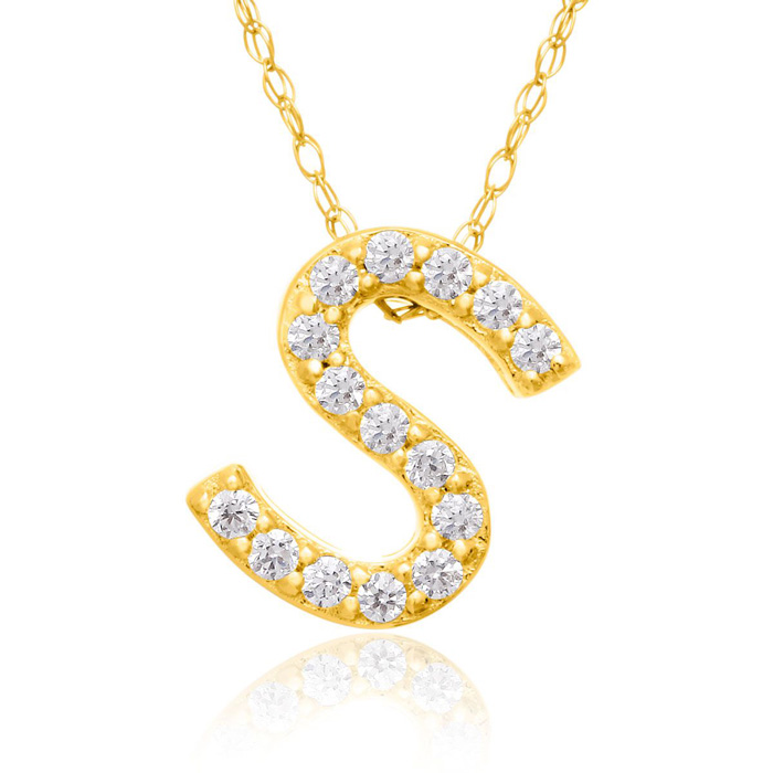 S Initial Necklace in 18K Yellow Gold (2.6 g) w/ 15 Diamonds, G/H