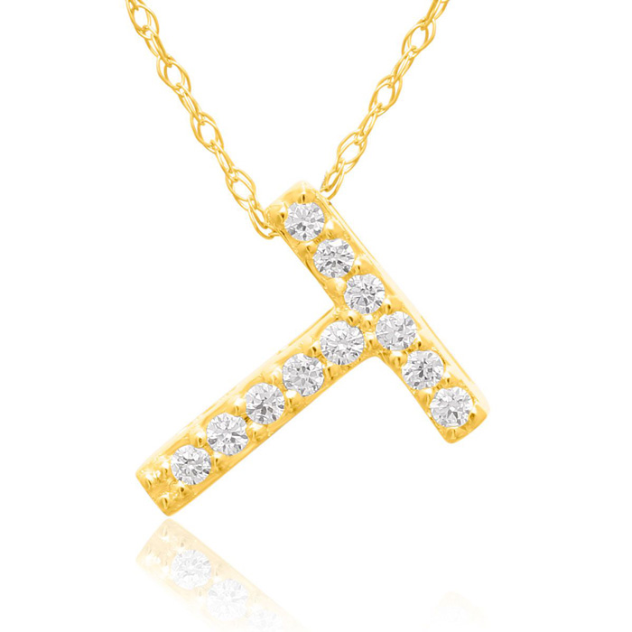 T Initial Necklace in 18K Yellow Gold (2.6 g) w/ 11 Diamonds, G/H