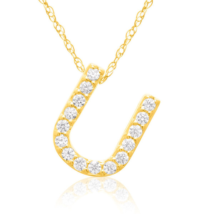 U Initial Necklace in 18K Yellow Gold (2.6 g) w/ 15 Diamonds, G/H