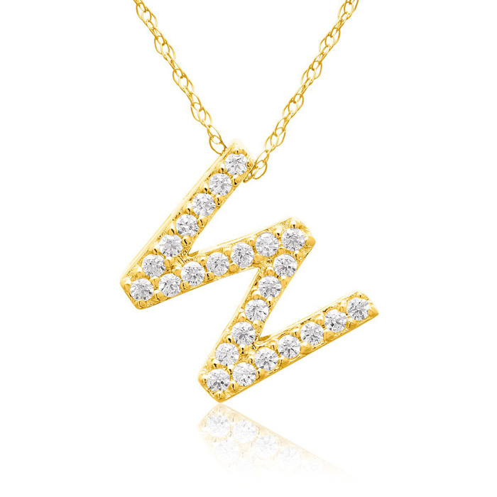 W Initial Necklace in 18K Yellow Gold (2.6 g) w/ 25 Diamonds, G/H, 18 Inch Chain by SuperJeweler