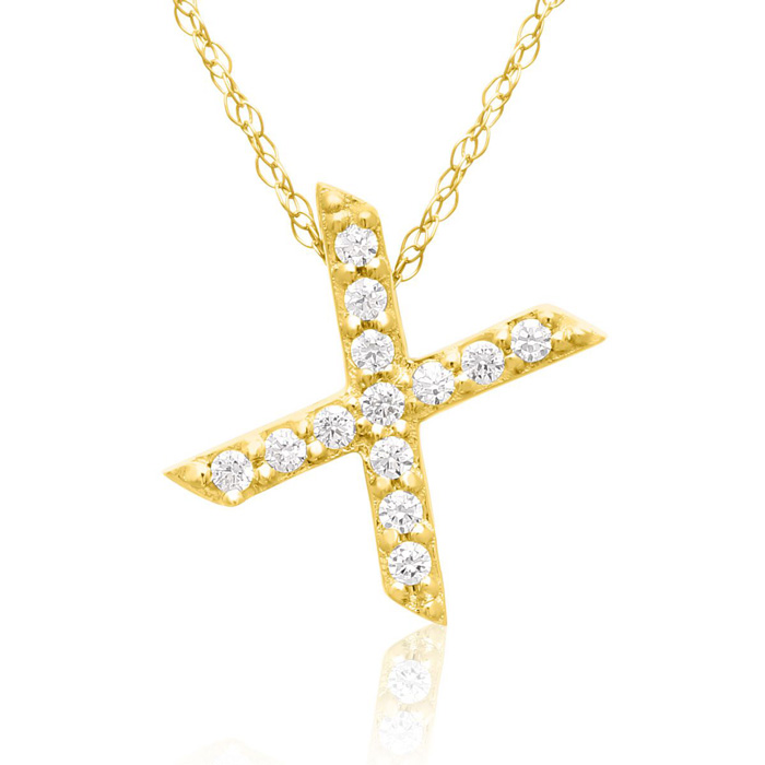 X Initial Necklace in 18K Yellow Gold (2.6 g) w/ 13 Diamonds, G/H