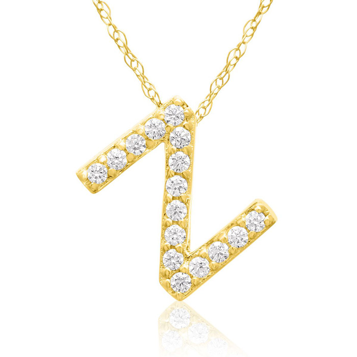 Z Initial Necklace in 18K Yellow Gold (2.6 g) w/ 16 Diamonds, G/H