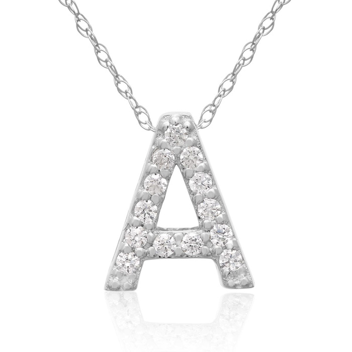 A Initial Necklace in 18K White Gold (2.6 g) w/ 13 Diamonds, G/H,