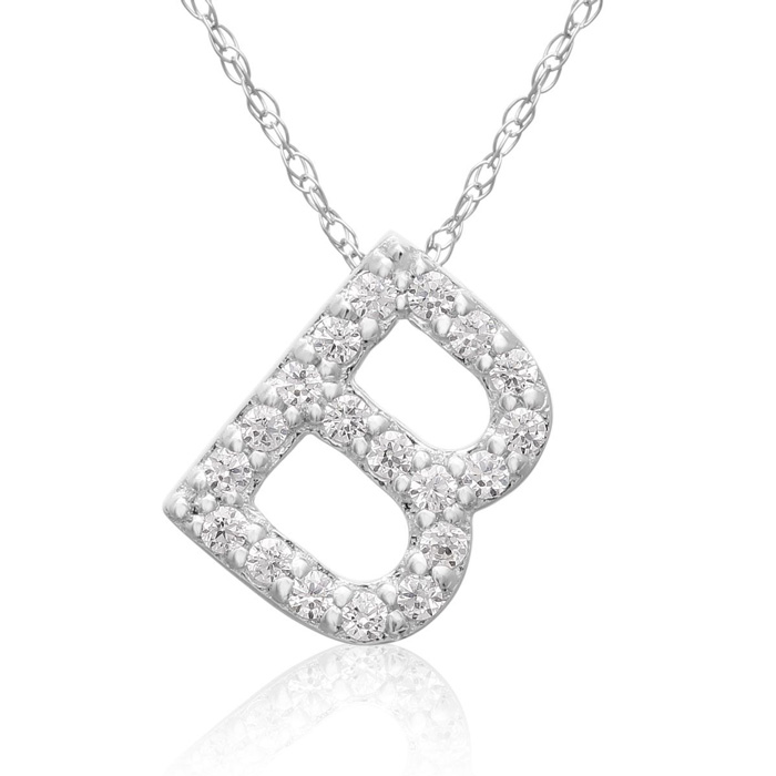 B Initial Necklace in 18K White Gold (2.6 g) w/ 19 Diamonds, G/H,