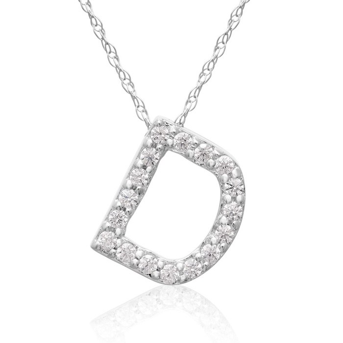 D Initial Necklace in 18K White Gold (2.6 g) w/ 17 Diamonds, G/H,