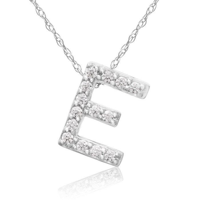 E Initial Necklace in 18K White Gold (2.6 g) w/ 14 Diamonds, G/H,