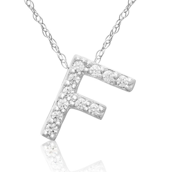 F Initial Necklace in 18K White Gold (2.6 g) w/ 11 Diamonds, G/H,