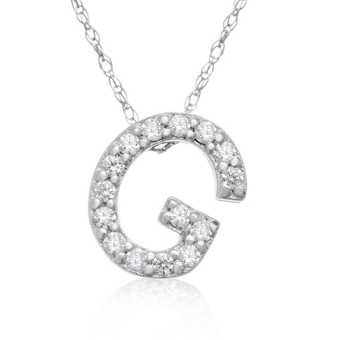G Initial Necklace in 18K White Gold (2.6 g) w/ 15 Diamonds, G/H,