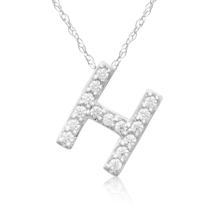 H Initial Necklace in 18K White Gold (2.6 g) w/ 15 Diamonds, G/H,