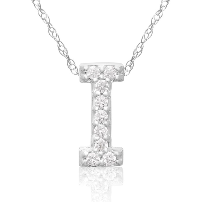 I Initial Necklace in 18K White Gold (2.6 g) w/ 9 Diamonds, G/H,