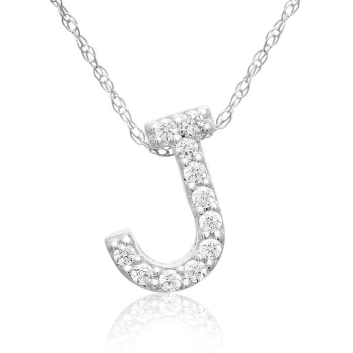 J Initial Necklace in 18K White Gold (2.6 g) w/ 11 Diamonds, G/H,