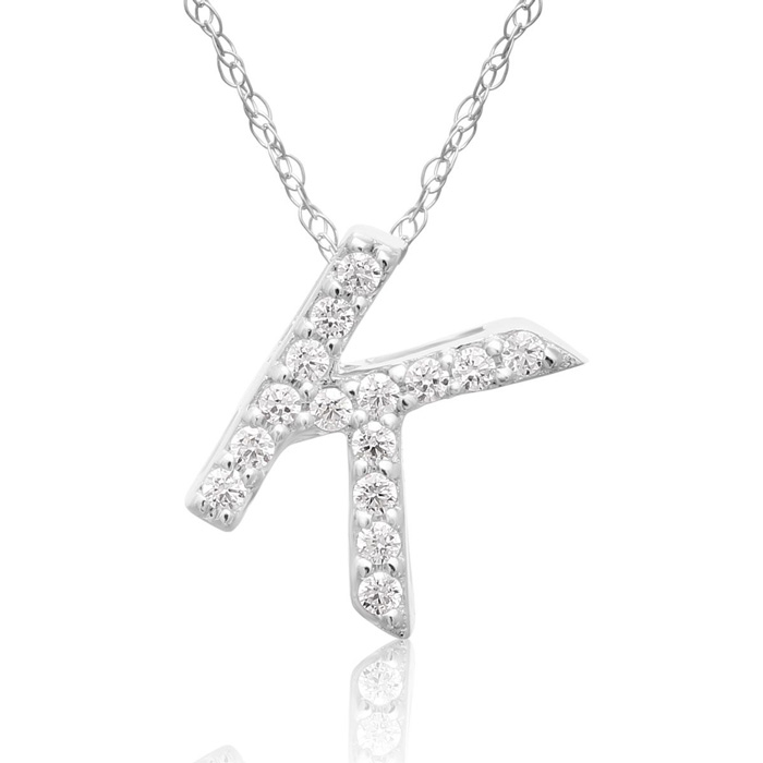 K Initial Necklace in 18K White Gold (2.6 g) w/ 15 Diamonds, G/H,