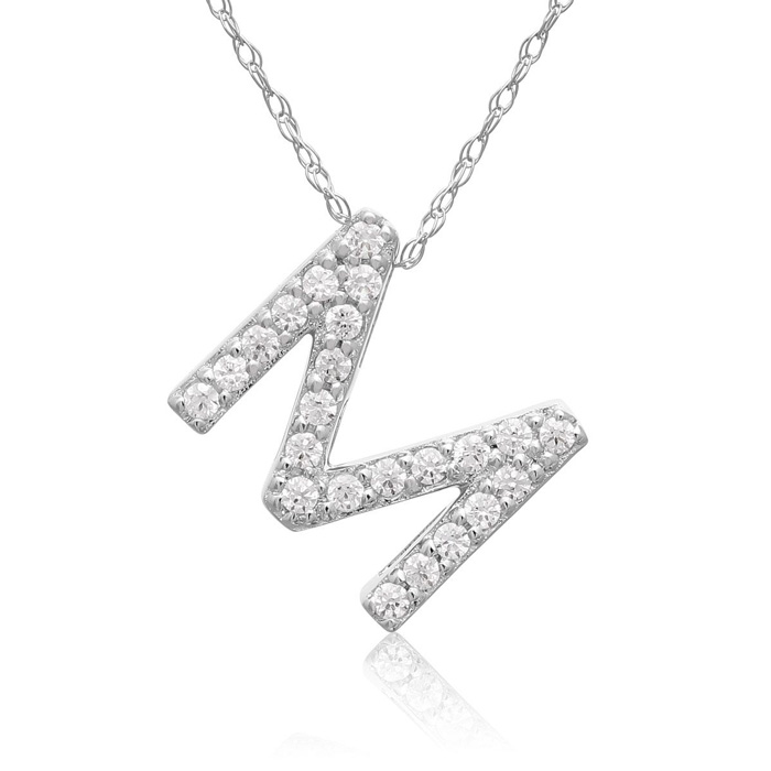 M Initial Necklace in 18K White Gold (2.6 g) w/ 23 Diamonds, G/H,