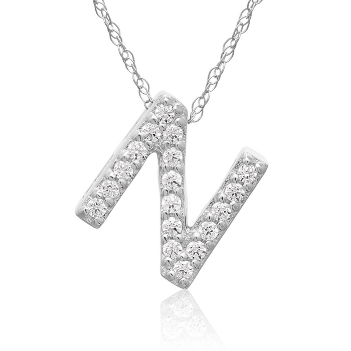 N Initial Necklace in 18K White Gold (2.6 g) w/ 18 Diamonds, G/H,