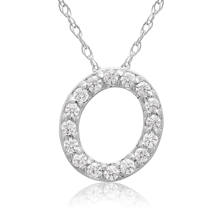 O Initial Necklace in 18K White Gold (2.6 g) w/ 16 Diamonds, G/H,