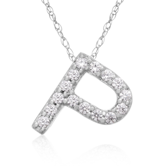 P Initial Necklace in 18K White Gold (2.6 g) w/ 15 Diamonds, G/H,