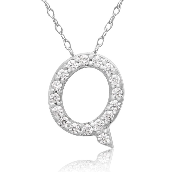 Q Initial Necklace in 18K White Gold (2.6 g) w/ 17 Diamonds, G/H,