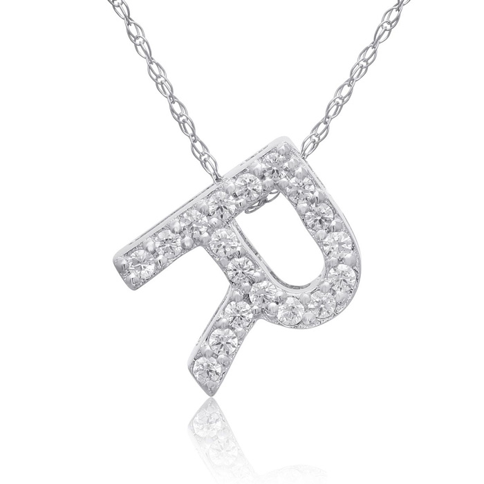 R Initial Necklace in 18K White Gold (2.6 g) w/ 18 Diamonds, G/H,