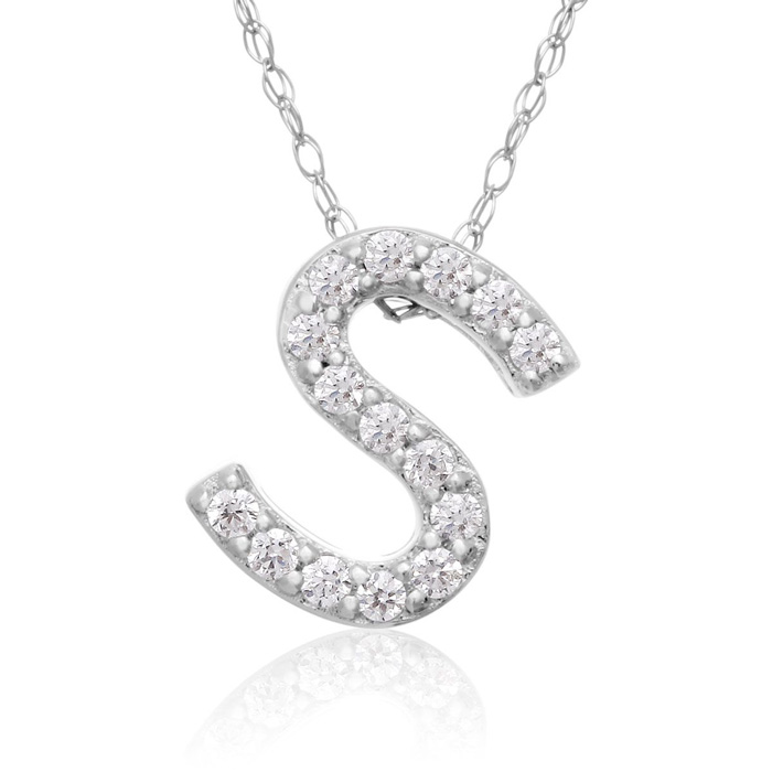 S Initial Necklace in 18K White Gold (2.6 g) w/ 15 Diamonds, G/H,