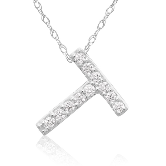 T Initial Necklace in 18K White Gold (2.6 g) w/ 11 Diamonds, G/H,