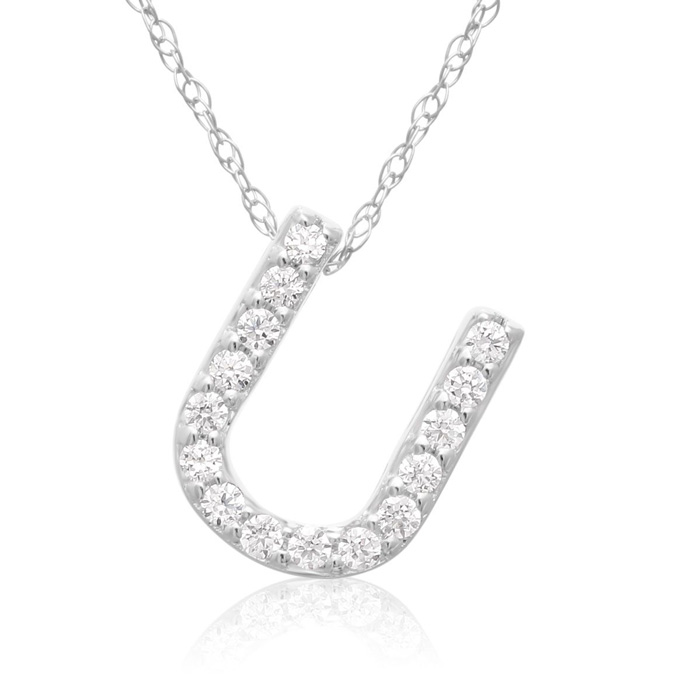 U Initial Necklace in 18K White Gold (2.6 g) w/ 15 Diamonds, G/H,