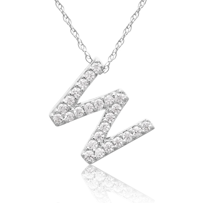 W Initial Necklace in 18K White Gold (2.6 g) w/ 25 Diamonds, G/H,