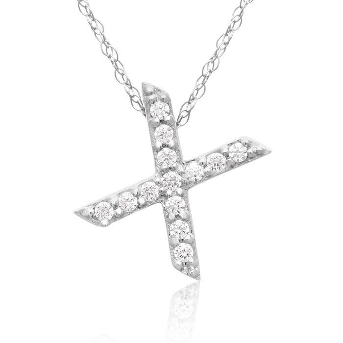 X Initial Necklace in 18K White Gold (2.6 g) w/ 13 Diamonds, G/H, 18 Inch Chain by SuperJeweler