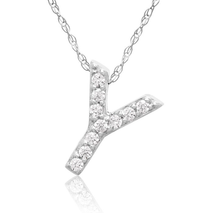 Y Initial Necklace in 18K White Gold (2.6 g) w/ 10 Diamonds, G/H,