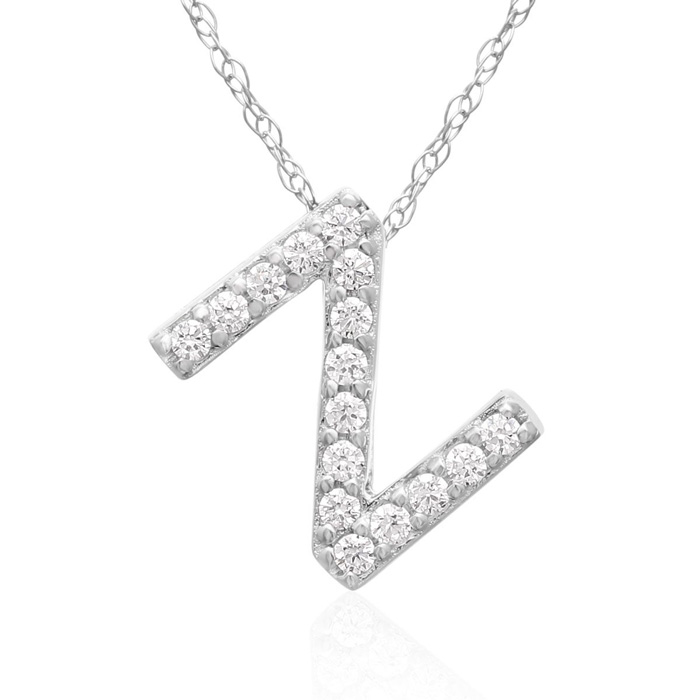 Z Initial Necklace in 18K White Gold (2.6 g) w/ 16 Diamonds, G/H,