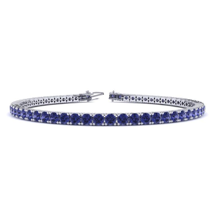 7 Inch 5 1/4 Carat Tanzanite Tennis Bracelet in 14K White Gold (9