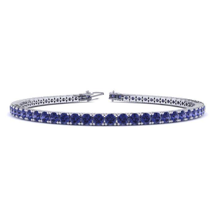 7 Inch 5 1/4 Carat Tanzanite Tennis Bracelet in 14K White Gold (9