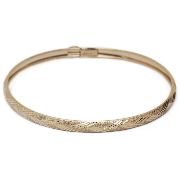 10K Yellow Gold Flexible Bangle Bracelet With Diamond Cut Design, 7 Inches