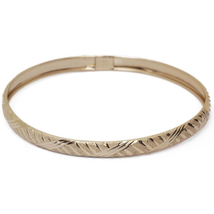 10K Yellow Gold Flexible Bangle Bracelet With Fancy Diamond Cut Design, 7 In..