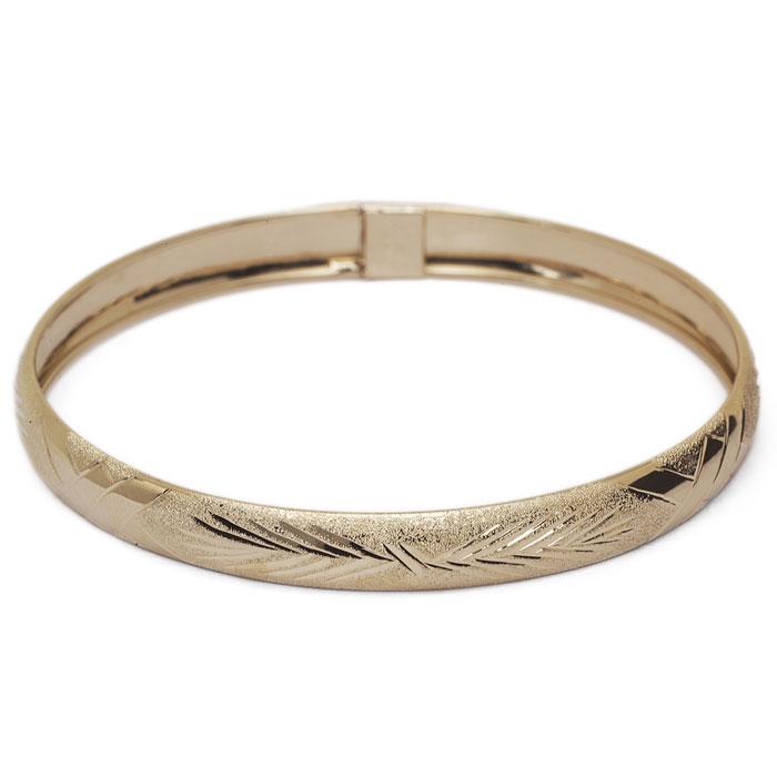 10K Yellow Gold Flexible Bangle Bracelet With Classic Diamond Cut Design, 8 ..