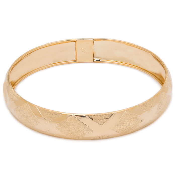 10K Yellow Gold (7.5 g) Flexible Bangle Bracelet w/ High Polish D