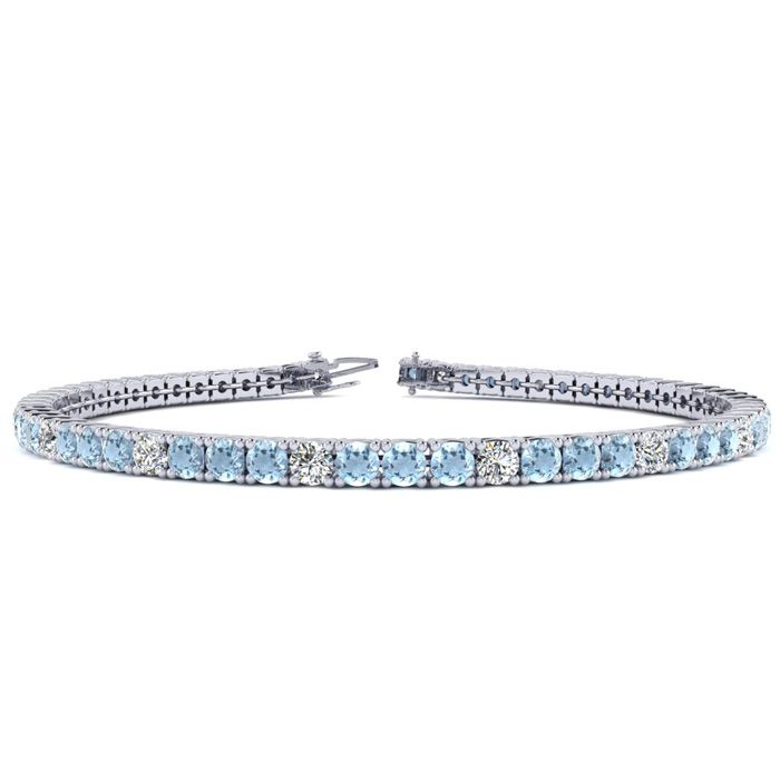 7 Inch 4 Carat Aquamarine & Diamond Graduated Tennis Bracelet in 14K White Gold (9.4 g), J/K by SuperJeweler