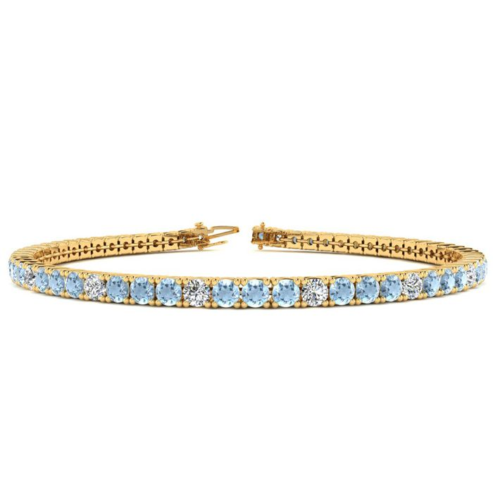 9 Inch 5 Carat Aquamarine & Diamond Graduated Tennis Bracelet in 14K Yellow Gold (12.1 g), J/K by SuperJeweler