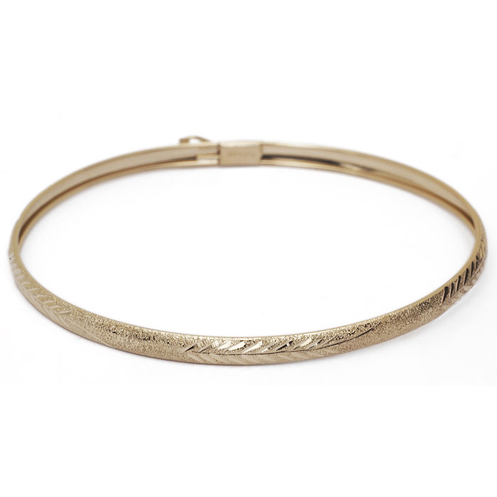 10K Yellow Gold (3 g) Flexible Bangle Bracelet w/ Filigree Design