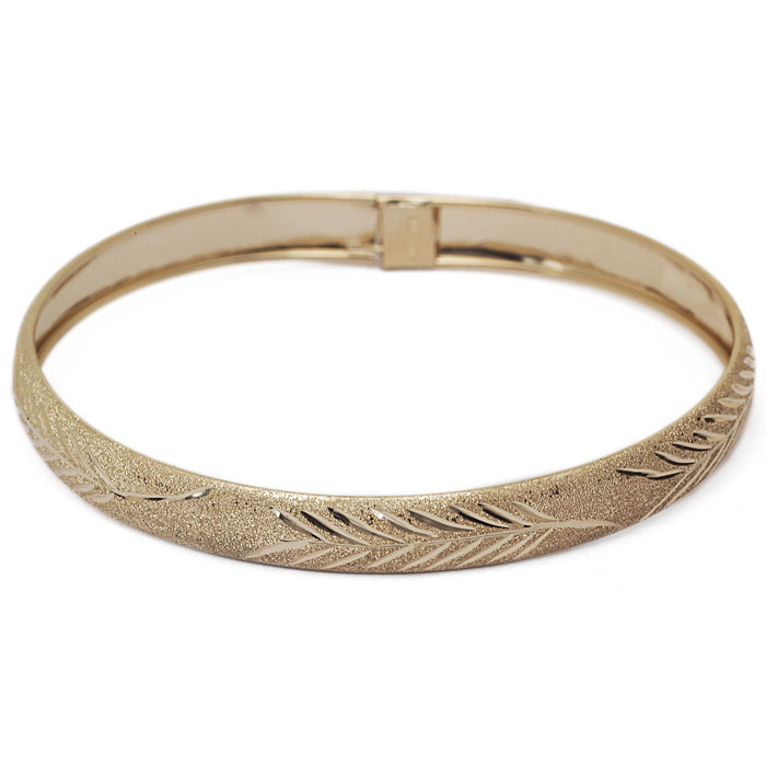 10K Yellow Gold Flexible Bangle Bracelet With Leaf Design, Available in 7 and 8 Inch Lengths